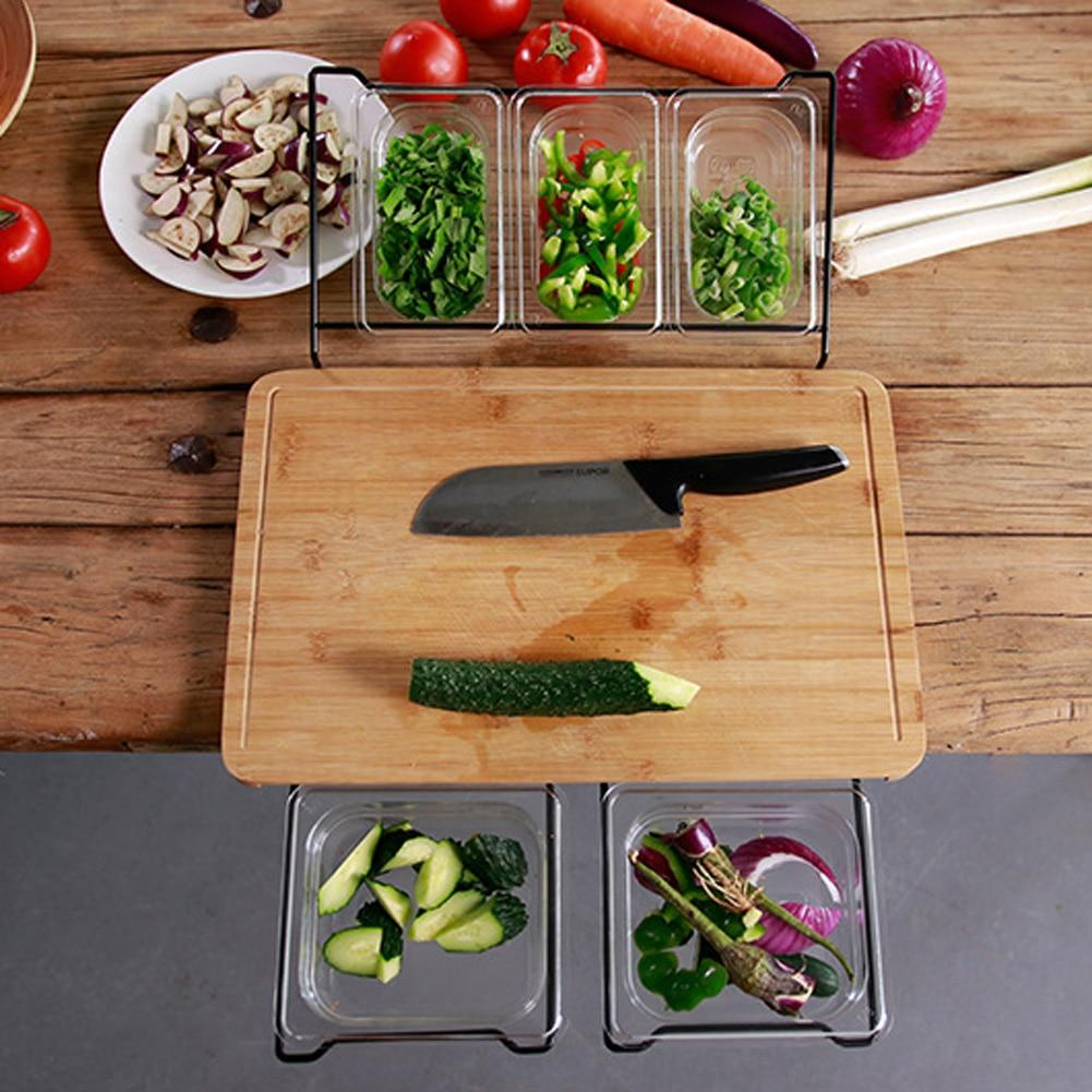 Multifunctional Fruit & Vegetables Bamboo Cutting Chopping Board With Storage Box - Chopping Blocks