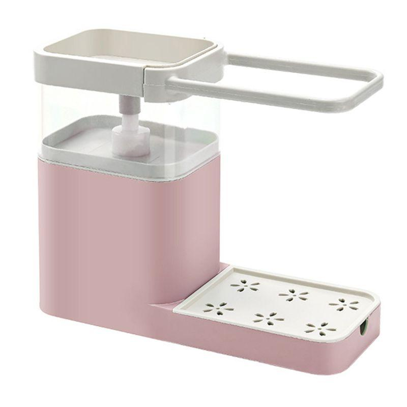 Multifunctional Kitchen Cleaning Soap Dispenser Combination Rack - Pink - Cleaning Tool