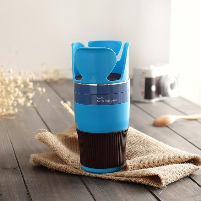 Multipurpose 5 in 1 Car Cup Holder - Blue