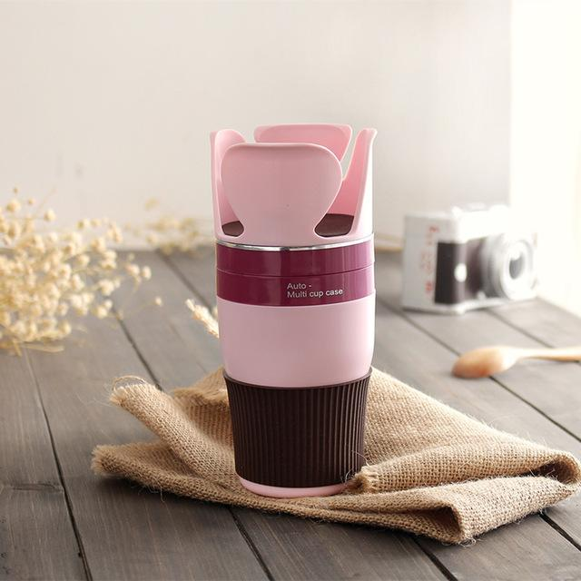 Multipurpose 5 in 1 Car Cup Holder - Pink
