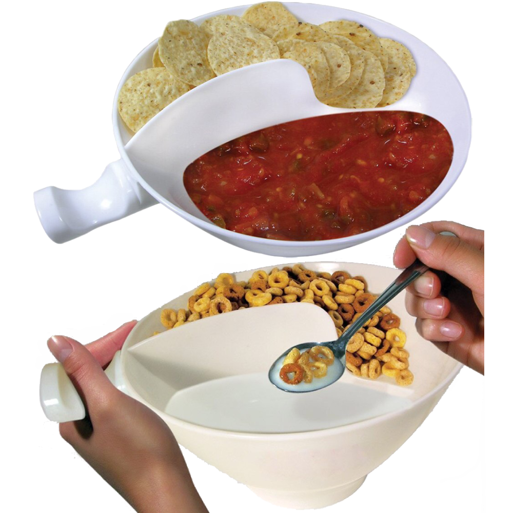 Never Soggy Cereal Bowl With Handle - Anti-Soggy Separated Cereal Bowl - White - Bowls