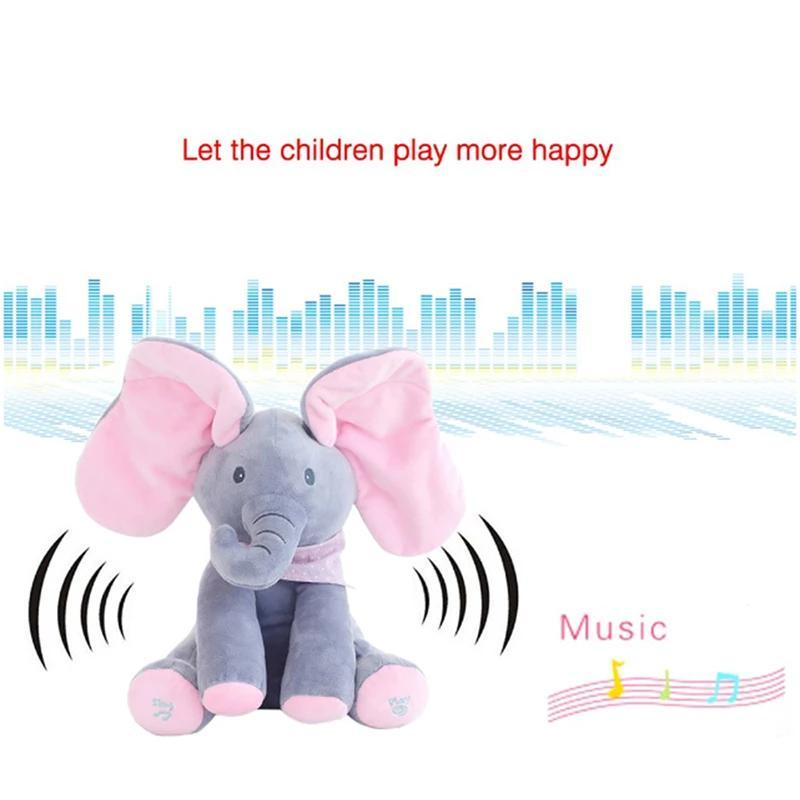 Peek a Boo Musical Elephant Flappy Ear Plush Kids Toy - Electronic Plush Toys