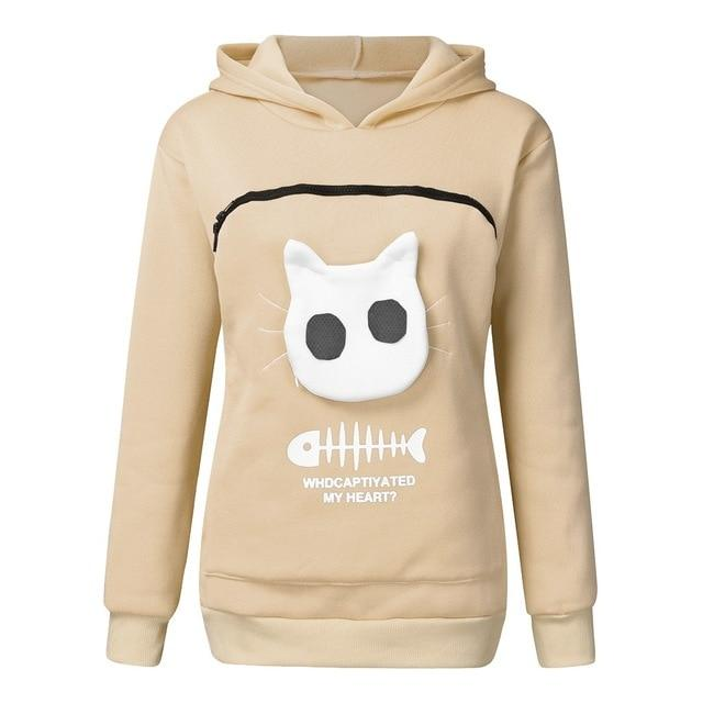 Pet Lovers Pullover Hoodie With Large Kangaroo Pouch - Cat Pullovers Cuddle Pocket - Beige / S
