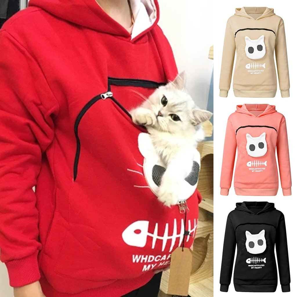 Pet Lovers Pullover Hoodie With Large Kangaroo Pouch - Cat Pullovers Cuddle Pocket - Red / S
