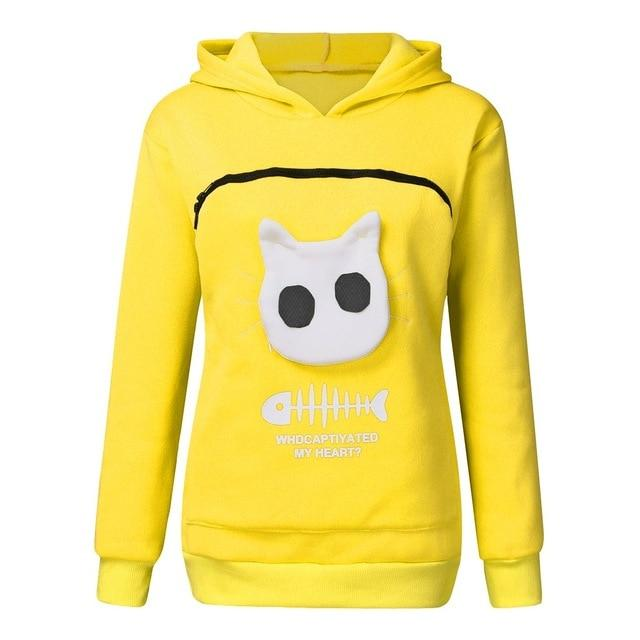Pet Lovers Pullover Hoodie With Large Kangaroo Pouch - Cat Pullovers Cuddle Pocket - Yellow / S