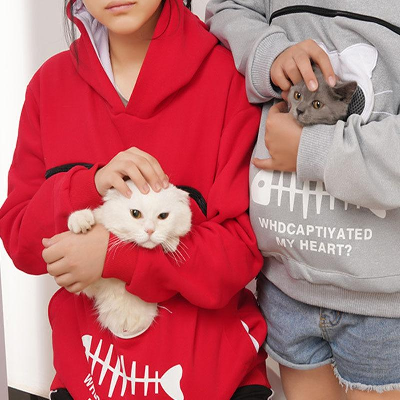 Pet Lovers Pullover Hoodie With Large Kangaroo Pouch - Cat Pullovers Cuddle Pocket