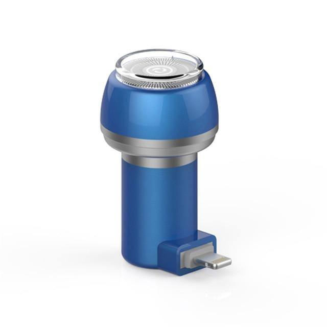 PhoneShave - Portable Mini Shaver Smartphone Powered Rotary Travel Razor - Blue - Lightning - Phone Accessory