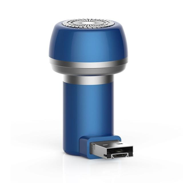PhoneShave - Portable Mini Shaver Smartphone Powered Rotary Travel Razor - Blue - USB/Micro USB - Phone Accessory