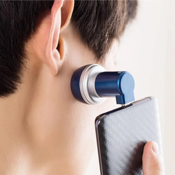 PhoneShave - Portable Mini Shaver Smartphone Powered Rotary Travel Razor - Phone Accessory