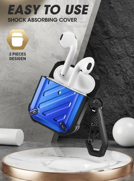 PodSafe - Airpods Full Body Rugged Protective Case Cover With Carabiner