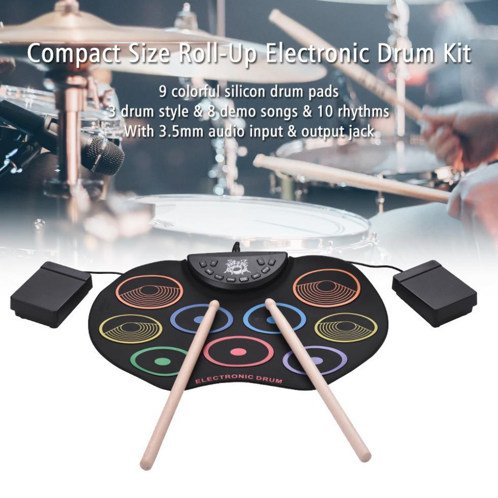 Portable Digital Drum Set - 9 Pads Roll up Silicone Electric Drum Kit Set - Drum