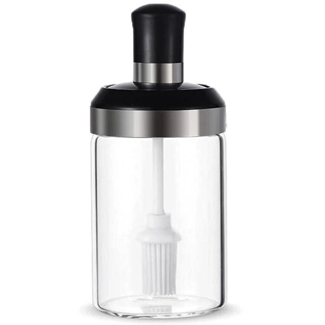 Practical Sealed Glass Seasoning Condiment Container Storage Bottle With Spoon - Oil Bottle With Brush - Bottles Jars & Boxes