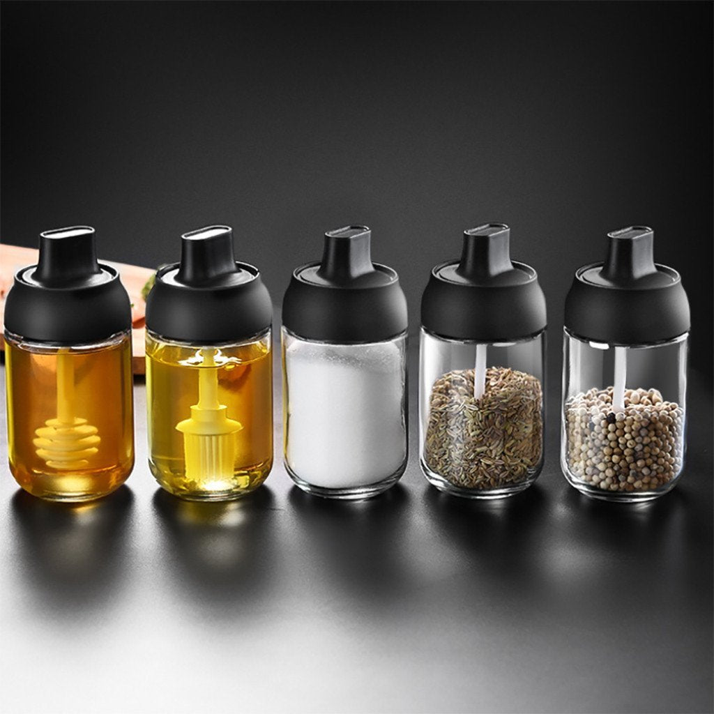 Practical Sealed Glass Seasoning Condiment Container Storage Bottle With Spoon - Bottles Jars & Boxes
