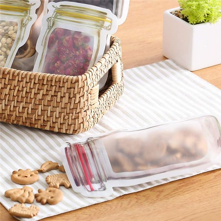 Mason Jar Shaped Zipper Sealed Bags Reusable Snack Saver Storage Bags - Storage Bags
