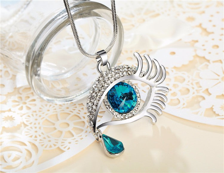 Magic Eye Crystal Tear Drop Necklace - Silver Blue Big