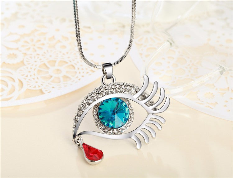 Magic Eye Crystal Tear Drop Necklace - Silver Blue Red Big