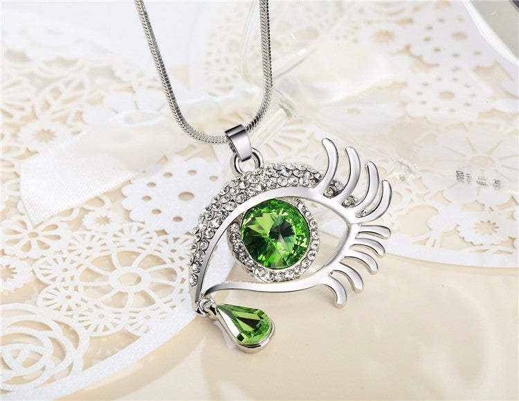 Magic Eye Crystal Tear Drop Necklace - Silver Green Big