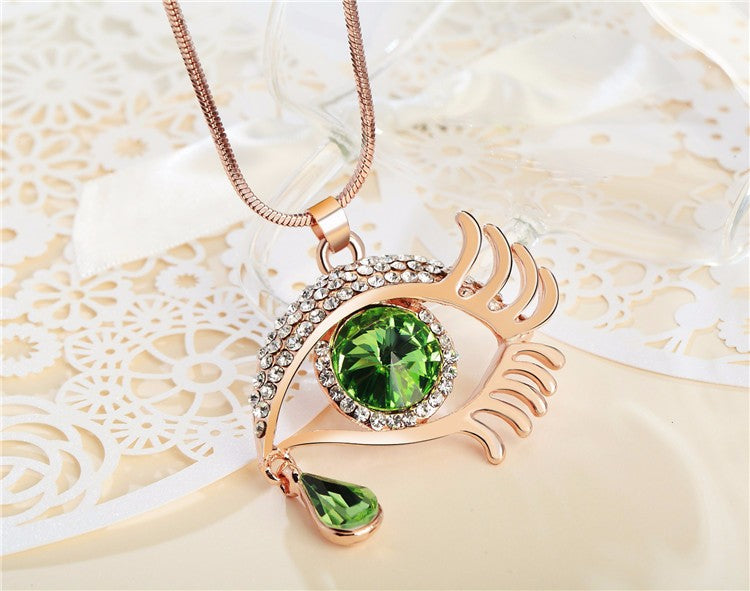 Magic Eye Crystal Tear Drop Necklace - Gold Green Big
