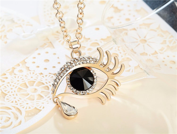 Magic Eye Crystal Tear Drop Necklace - Gold Black White Small