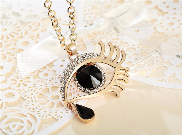 Magic Eye Crystal Tear Drop Necklace - Gold Black Small