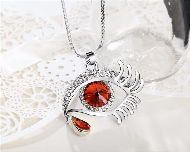 Magic Eye Crystal Tear Drop Necklace - Silver Red Big