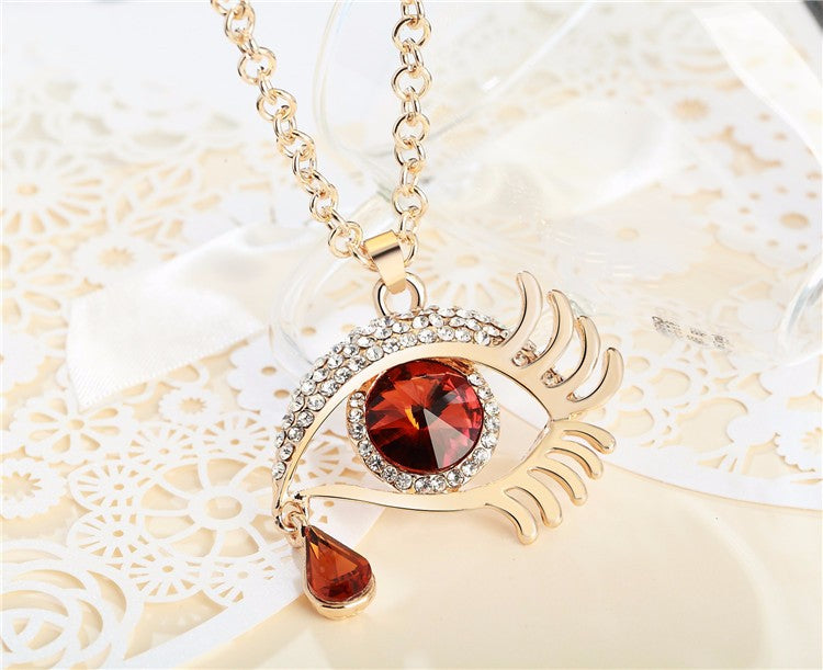 Magic Eye Crystal Tear Drop Necklace - Gold Red Big