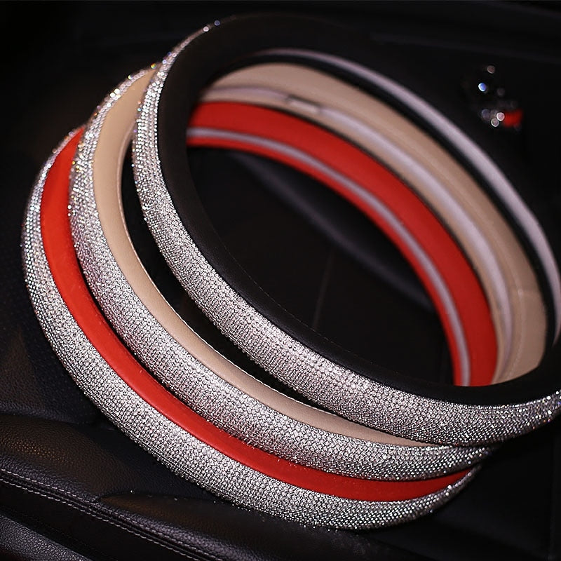 Crystal Steering Wheel Leather Cover