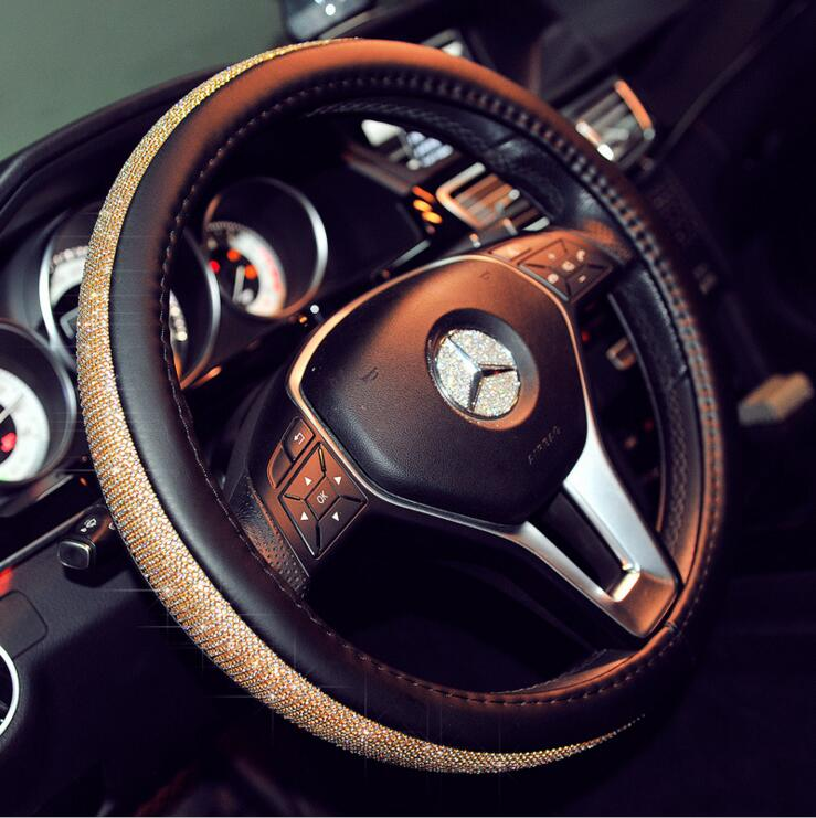 Crystal Steering Wheel Leather Cover - Black Gold