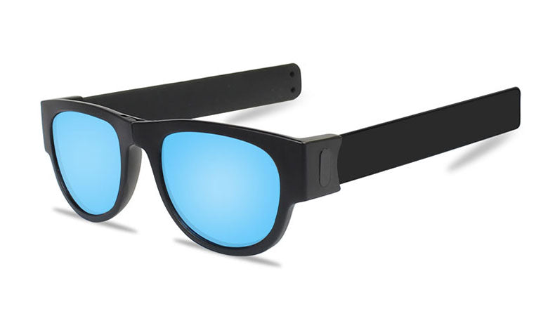 Slappable Mirror Sunglasses - Ice Blue Mirrored Black