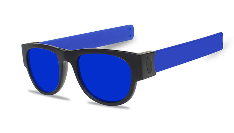 Slappable Mirror Sunglasses - Blue Mirrored Blue