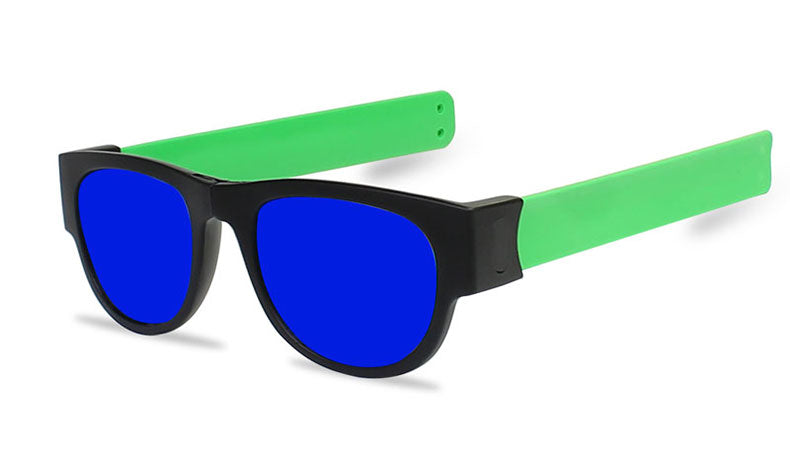 Slappable Mirror Sunglasses - Blue Mirrored Green