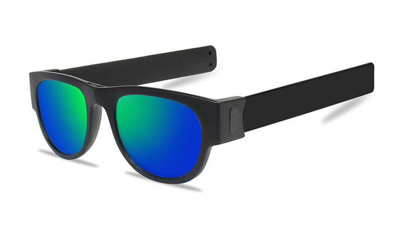 Slappable Mirror Sunglasses - Blue Green Mirrored Black