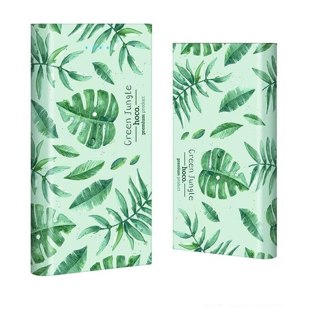 Super Fashionable Dual Output Power Bank 13000 Mah - Green Grass