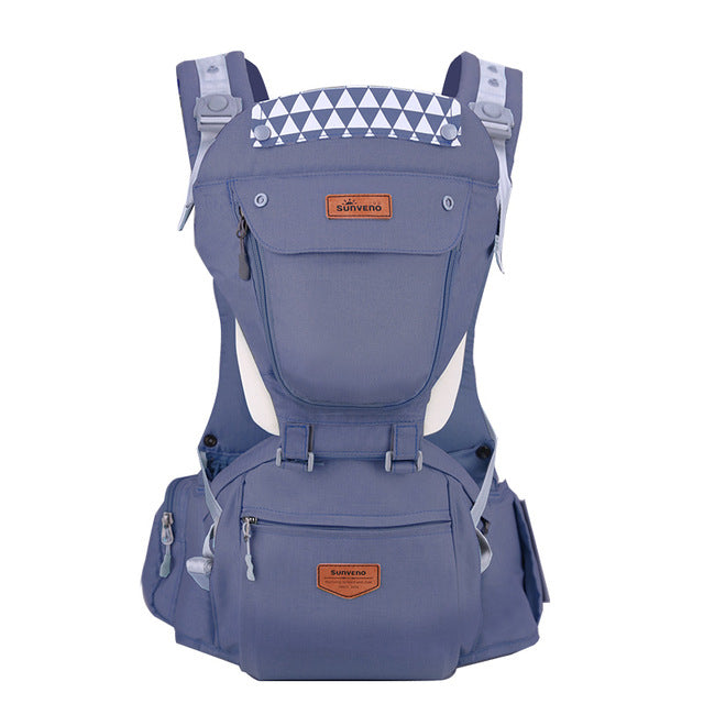 Front Facing Baby Carrier With Hipseat For Travel - Blue