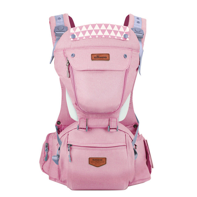 Front Facing Baby Carrier With Hipseat For Travel - Pink
