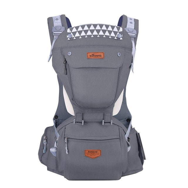 Front Facing Baby Carrier With Hipseat For Travel - Gray