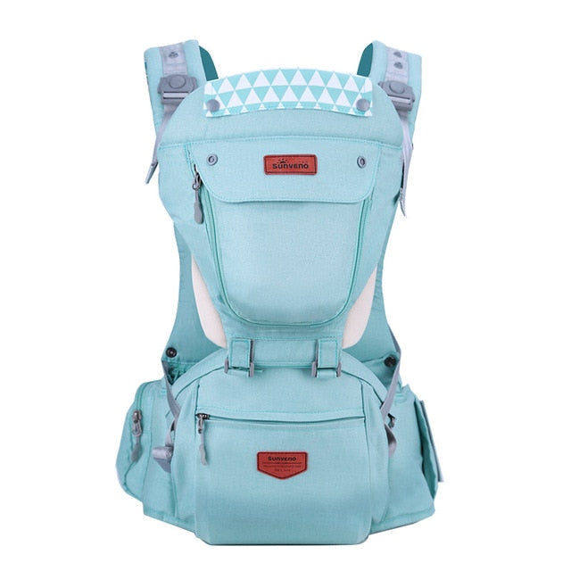 Front Facing Baby Carrier With Hipseat For Travel - Green