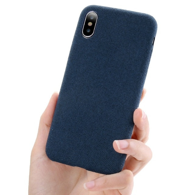 Luxury Cloth Texture Iphone Case - Blue / For Iphone X
