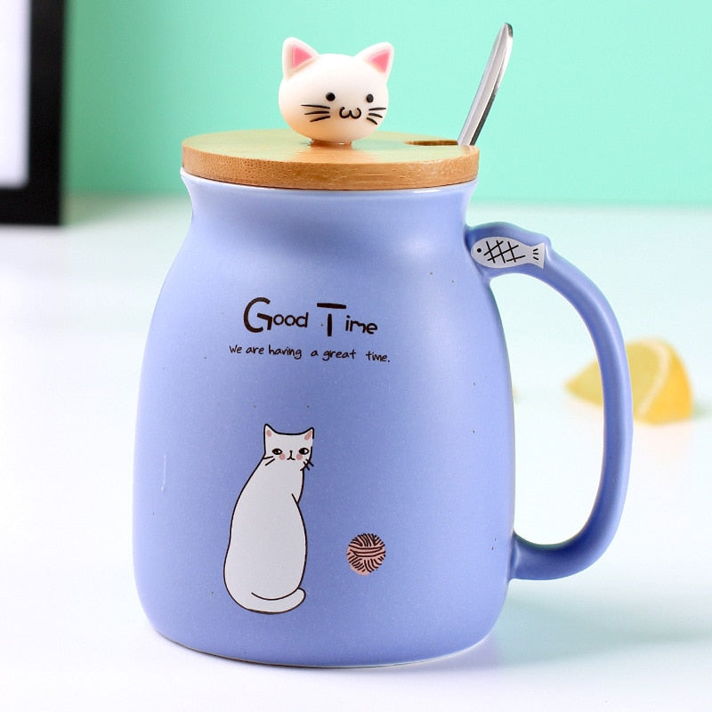 Creative Ceramic Heat-Resistant Cat/kitten Coffee Mug - Blue