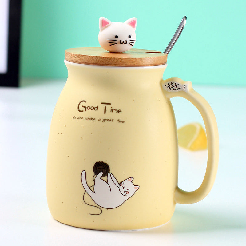 Creative Ceramic Heat-Resistant Cat/kitten Coffee Mug - Yellow