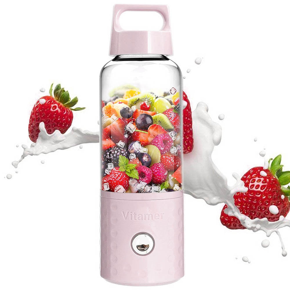 Portable Usb Rechargeable Smoothie Blender Bottle - Pink