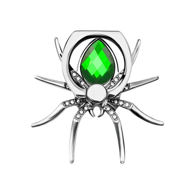 Universal Luxury Metal Spider Phone Finger Ring Holder - Green
