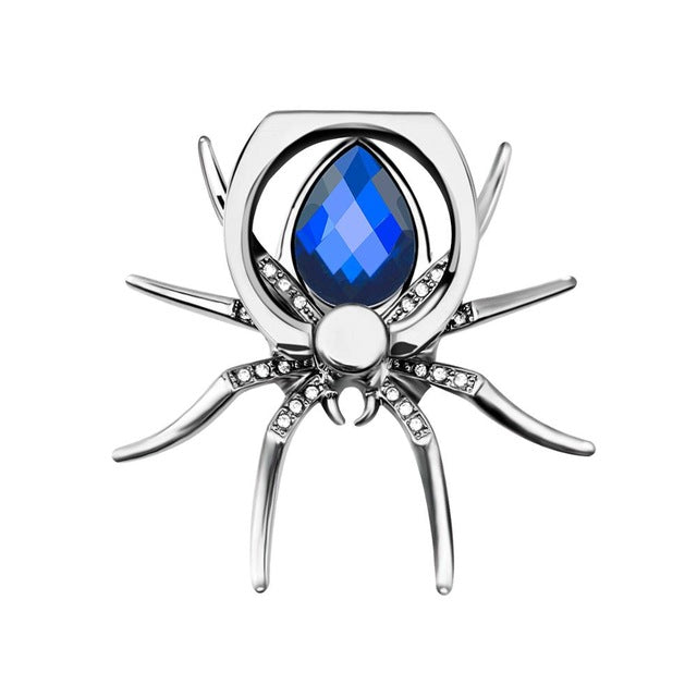 Universal Luxury Metal Spider Phone Finger Ring Holder - Blue