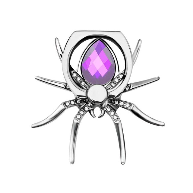 Universal Luxury Metal Spider Phone Finger Ring Holder - Purple