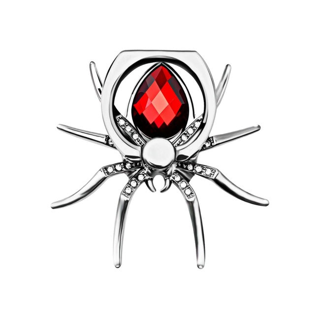 Universal Luxury Metal Spider Phone Finger Ring Holder - Red