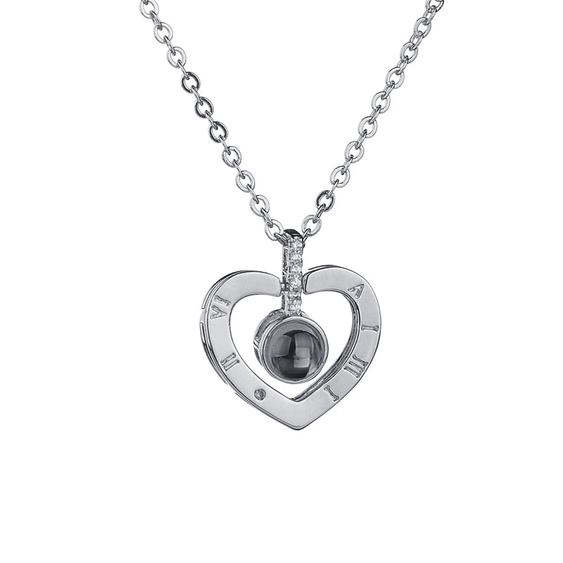 100 Languages I Love You Memory Necklace 2.0 - Silver Style 1