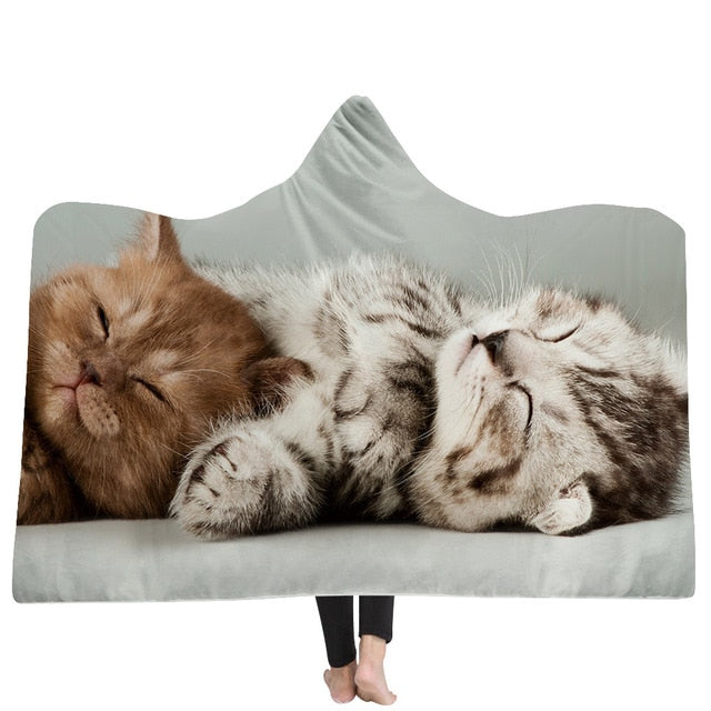 Sleepy Cat Custom Hooded Blanket - Adult 80X55
