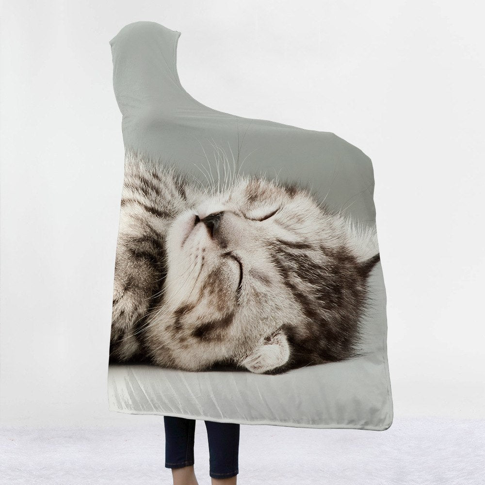 Sleepy Cat Custom Hooded Blanket