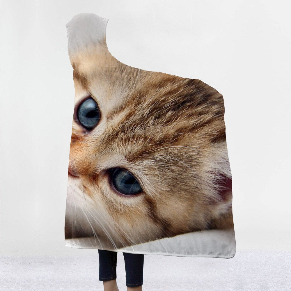 Cute Cat Custom Hooded Blanket