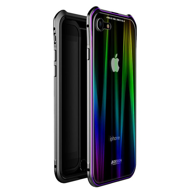 Luxury Shockproof Aluminum Case For Iphone Xs Max Xr Xs 8 7 Plus - Black Purple / For Iphone 7 8 Plus